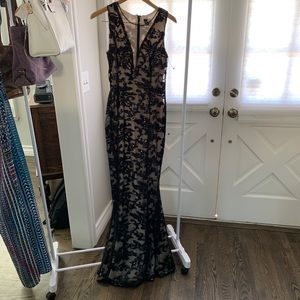 Windsor Black sequined lace w/ nude underlay dress